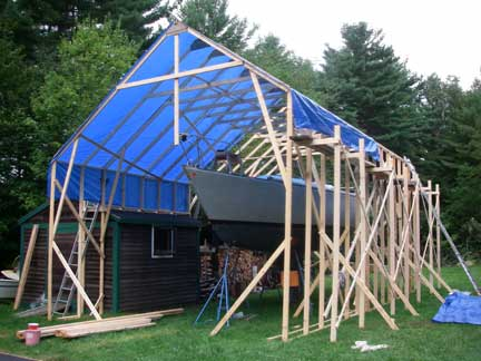 Added more braces and strapping placed ridgepoles with help from Wendy then pulled tarps over the top and secured them in place with battens screwed to ... & GREYHAWK Refit: a Tall Tent