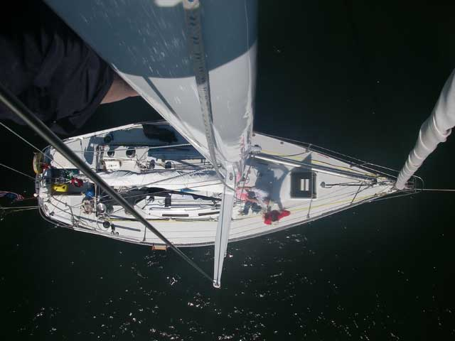 View down from top of mast