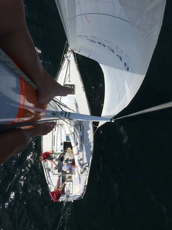 View of my sailboat from the top of the mast